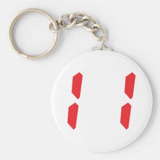 11 eleven  red alarm clock digital number basic round button keychain