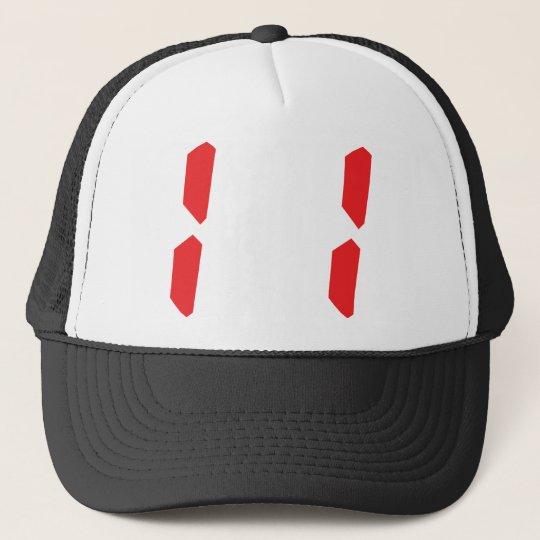 11 eleven  red alarm clock digital number trucker hat
