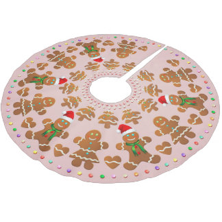 11 Gingerbread Boys And Girls Celebrating Xmas Brushed Polyester Tree Skirt