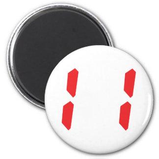 11 número digital del despertador de once rojos imán redondo 5 cm