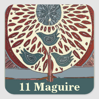 11 pájaros azules abstractos de Maguire Pegatina Cuadrada