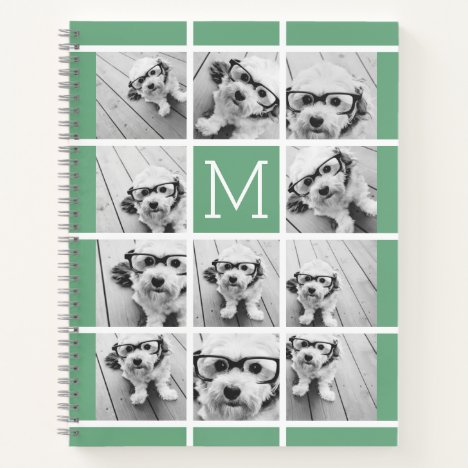 11 Photo Collage Monogram CAN EDIT COLOR Notebook