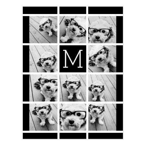 11 Photo Collage Monogram CAN EDIT COLOR Postcard