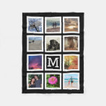 11 Photo Collage Mosaic Square Frame Monogram Fleece Blanket
