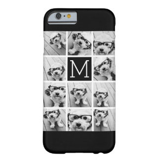 11 Photo Instagram Collage Custom Black Monogram Barely There iPhone 6 Case
