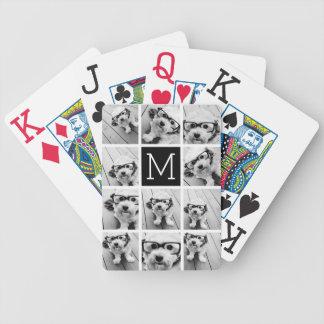 11 Photo Instagram Collage Custom Black Monogram Bicycle Playing Cards