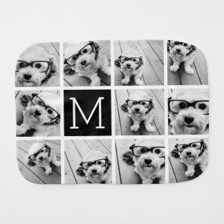 11 Photo Instagram Collage Custom Black Monogram Burp Cloth