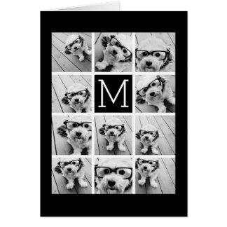 11 Photo Instagram Collage Custom Black Monogram Card