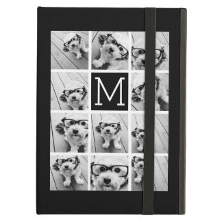 11 Photo Instagram Collage Custom Black Monogram Cover For iPad Air