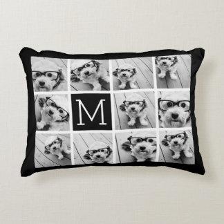 11 Photo Instagram Collage Custom Black Monogram Decorative Pillow