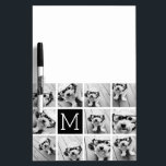 """11 Photo Instagram Collage Custom Black Monogram Dry Erase Board<br><div class=""""desc"""">Black and White - Use up to 11 square photos to create a unique and personal gift. Or you can keep the hipster puppy and make a trendy keepsake. If you need to adjust the pictures,  click on the customize tool to make changes.</div>"""