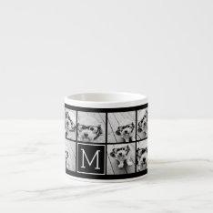 11 Photo Instagram Collage Custom Black Monogram Espresso Cup at Zazzle