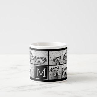 11 Photo Instagram Collage Custom Black Monogram Espresso Cup