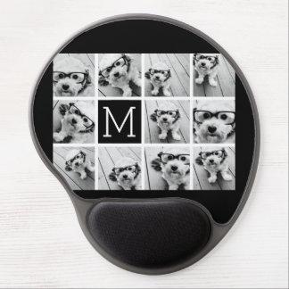 11 Photo Instagram Collage Custom Black Monogram Gel Mouse Pad