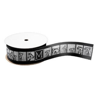 11 Photo Instagram Collage Custom Black Monogram Grosgrain Ribbon