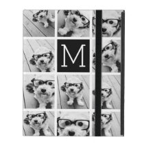 11 Photo Instagram Collage Custom Black Monogram iPad Folio Case