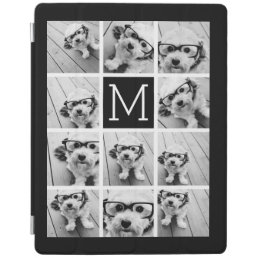 11 Photo Instagram Collage Custom Black Monogram iPad Smart Cover