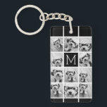 "11 Photo Instagram Collage Custom Black Monogram Keychain<br><div class=""desc"">Black and White - Use up to 11 square photos to create a unique and personal gift. Or you can keep the hipster puppy and make a trendy keepsake. If you need to adjust the pictures,  click on the customize tool to make changes.</div>"