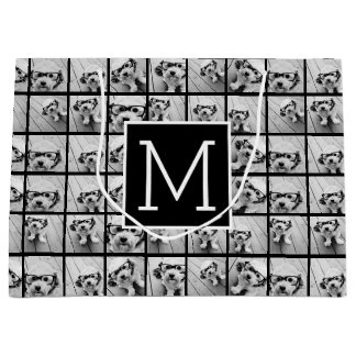 11 Photo Instagram Collage Custom Black Monogram Large Gift Bag