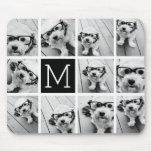 11 Photo Instagram Collage Custom Black Monogram Mouse Pad