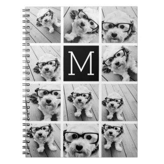 11 Photo Instagram Collage Custom Black Monogram Notebook