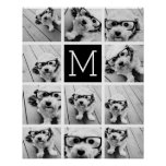 11 Photo Instagram Collage Custom Black Monogram Poster