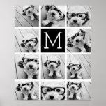 11 Photo Instagram Collage Custom Black Monogram Poster