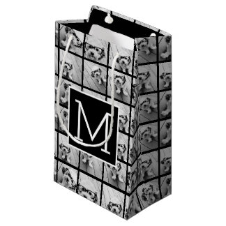 11 Photo Instagram Collage Custom Black Monogram Small Gift Bag