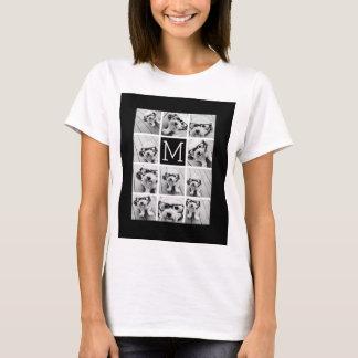 11 Photo Instagram Collage Custom Black Monogram T-Shirt