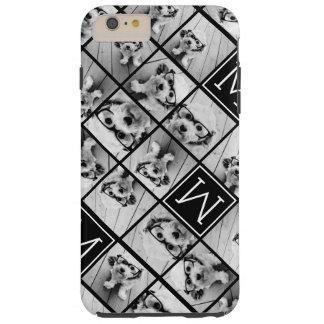 11 Photo Instagram Collage Custom Black Monogram Tough iPhone 6 Plus Case