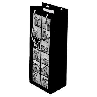 11 Photo Instagram Collage Custom Black Monogram Wine Gift Bag