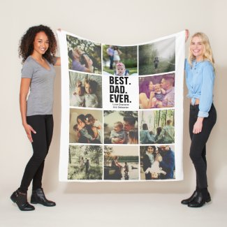 11 photos collage personalized Fathers Day Fleece Blanket