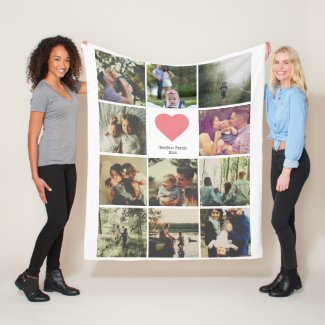 11 photos collage personalized Pink heart Fleece Blanket