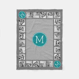 11 Photos Turquoise Charcoal Chevrons Monogram Fleece Blanket