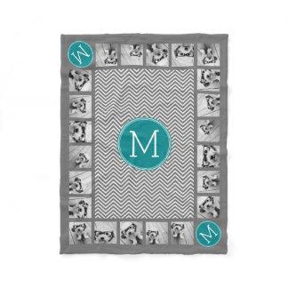11 Photos Turquoise Charcoal Chevrons Monogram Fleece Blanket