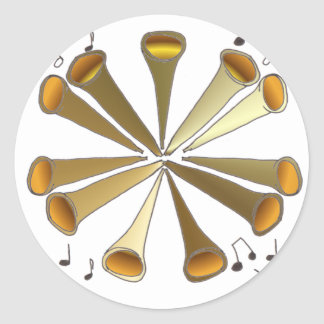 11 Pipers Piping Classic Round Sticker