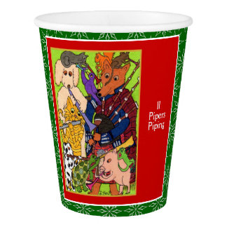 11 Pipers Piping Cute Animals 12 Days of Christmas Paper Cup