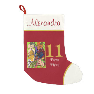 11 Pipers Piping Cute Animals Custom Name Small Christmas Stocking