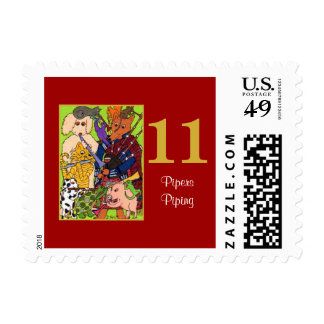 11 Pipers Piping Cute Animals & Typography Postage