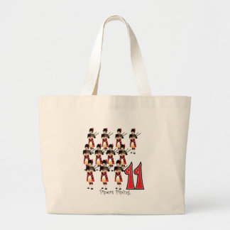 11 Pipers Piping Large Tote Bag