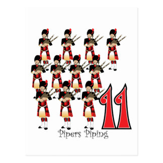 11 Pipers Piping Postcard