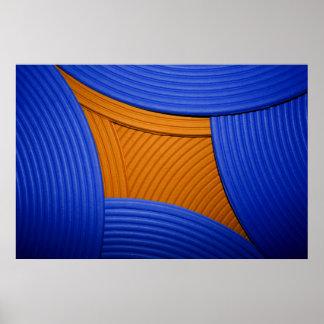 11 solas curvas y poster azules y anaranjados de l