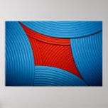 11 solas curvas y poster azules y rojos de las cap