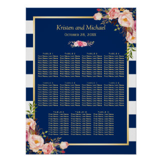 11 Tables Wedding Seating Chart | Navy Blue Floral Poster