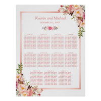 11 tables Wedding Seating Chart   Rose Gold Floral