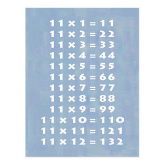 #11 Times Table Collectible Postcard