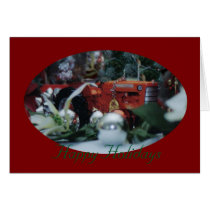 11 toy tractors at christmas card