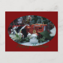11 toy tractors at christmas holiday postcard