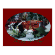 11 toy tractors at christmas postcard