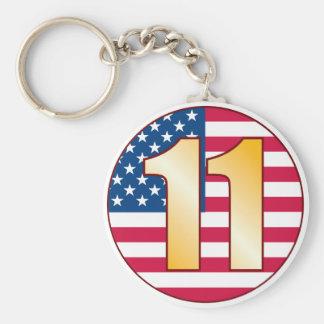 11 USA Gold Basic Round Button Keychain
